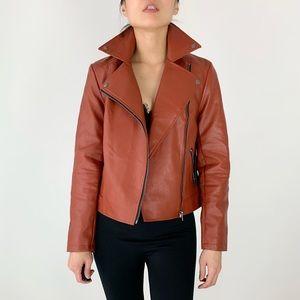 Vegan leather Moto biker jacket in cognac w hoodie